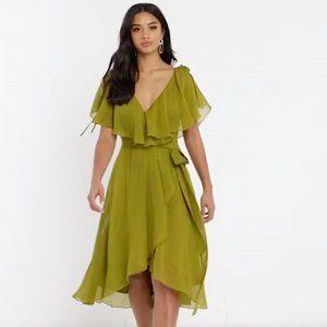 ASOS Petite midi split sleeve cape back dress